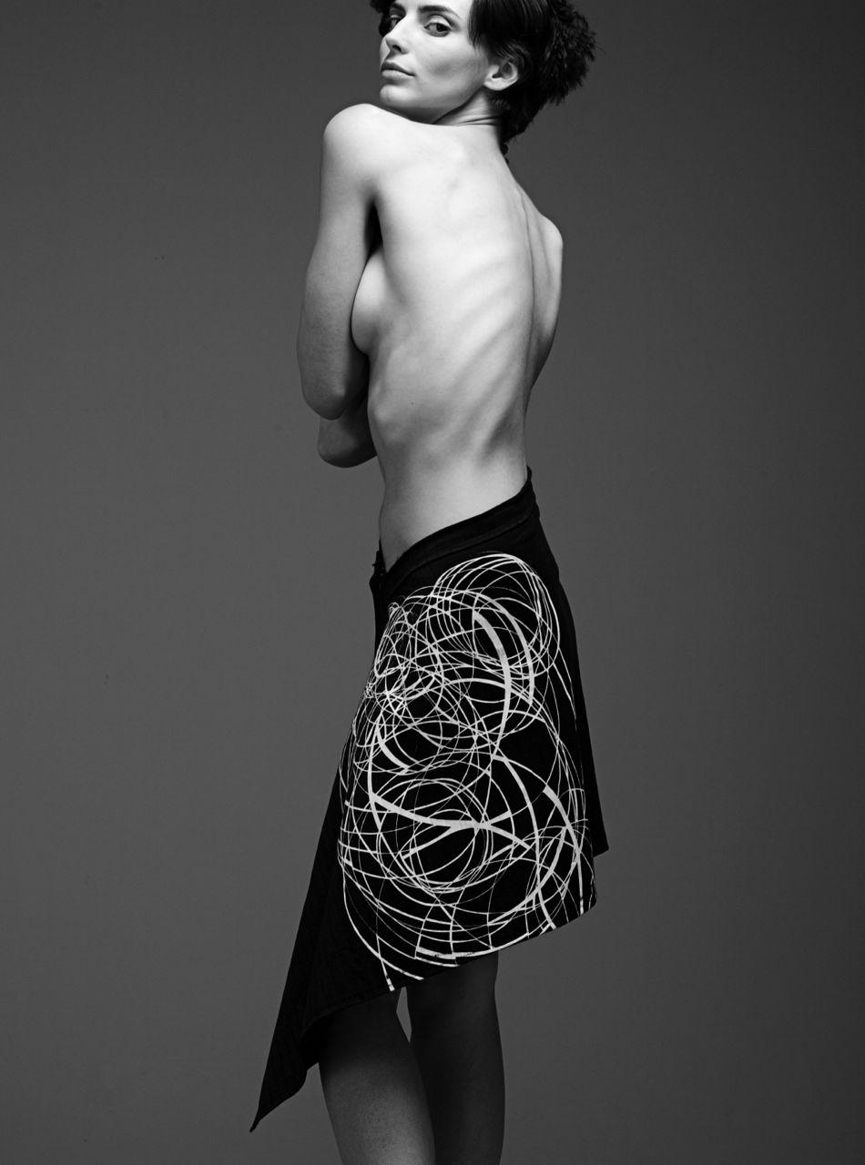 Screen Print Asymetrical Skirt